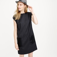 J.Crew Petite Faux Leather Pocket Shift Dress