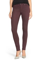 Women's Halogen Overdyed Stretch Skinny Jeans Burgundy Stem