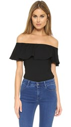 Susana Monaco Ruffle Off Shoulder Top Black