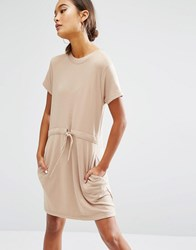 Daisy Street Short Sleeve Sweater Dress With Draw String Waist Tan