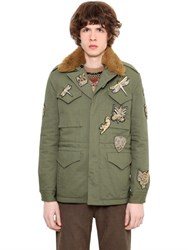 Roberto Cavalli Gabardine Jacket W Faux Fur And Patches
