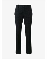 Gucci Cropped Spotted Wool Trousers Navy White Red