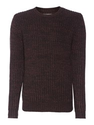 Label Lab Dean Multicoloured Crew Neck Jumper Deep Red