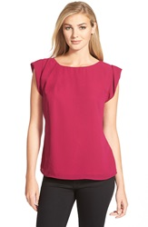 Cece By Cynthia Steffe Roll Cuff Short Sleeve Blouse Magenta Haze