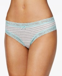 By Jennifer Moore Cotton Cheeky Lace Trim Hipster Only At Macy's Grey Stripe