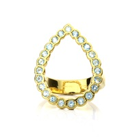 Lestie Lee Pear Halo Ring Topaz Blue Gold