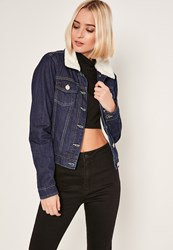 Missguided Blue Faux Shearling Collar Denim Jacket