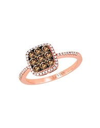 Le Vian Chocolatier Vanilla Diamond Chocolate Diamond And 14K Rose Gold Ring 0.64 Tcw