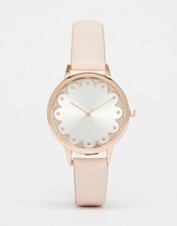 Asos Scalloped Detail Watch Nude Cream