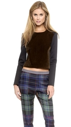 Clover Canyon Faux Pony Hair Crop Pullover Brown