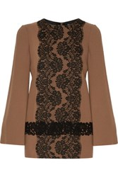 Dolce And Gabbana Lace Appliqued Wool Blend Top Brown