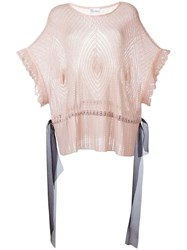 Red Valentino Open Knit Loose Top Pink And Purple