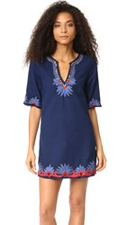 Piper Embroidered Tunic Dress Navy