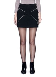 Alexander Wang Leather Adjuster Zip Skirt Black