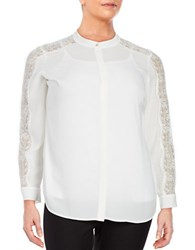 Vince Camuto Plus Lace Trimmed Button Front Blouse New Ivory