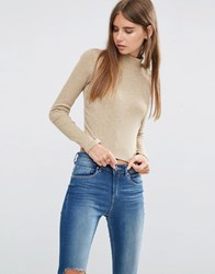 Asos Crop Top With Turtle Neck In Space Dye Brown Beige