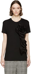 Lanvin Black Silk Flower T Shirt