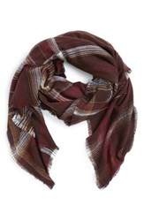 Treasure And Bond Women's 'Blurred Tartan' Blanket Wrap Burgundy Combo