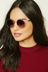 Forever 21 Round Gradient Sunglasses Gold Brown