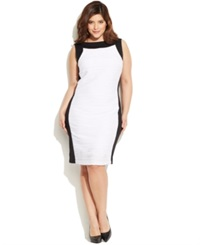 Calvin Klein Plus Size Sleeveless Colorblock Textured Sheath Ivory Black