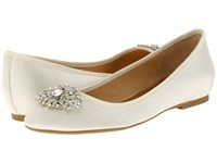 Badgley Mischka Abella Ivory Satin Women's Flat Shoes Bone