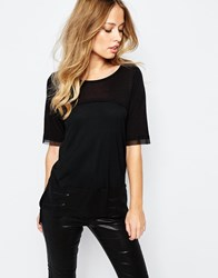 Y.A.S Mari T Shirt With Sheer Panel Black