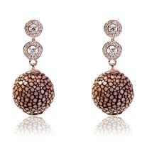 Latelita London Stingray Ball Earring With Zircon Chocolate Brown Rose Gold