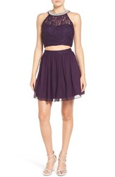 Speechless Women's 'Pearl' Lace Two Piece Skater Dress