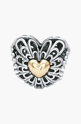 Pandora Design 'Vintage Heart' Two Tone Bead Charm Sterling Silver