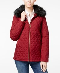 Tommy Hilfiger Faux Fur Quilted Barn Jacket Sonoma Red