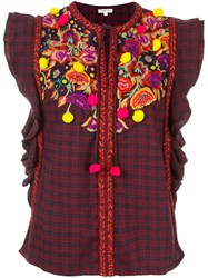Manoush Floral Embroidered Check Blouse