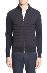 Men's Moncler Channel Quilted Knit Track Jacket Navy