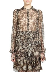Givenchy Silk Tortoise Shell Blouse Brown White Multi