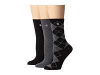 Lauren Ralph Lauren Argyle Trouser 3 Pack Black Women's Crew Cut Socks Shoes