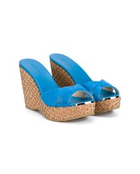Jimmy Choo Perfume Suede And Cork Wedge Sandals Blue Denim