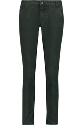 Iris And Ink Corra Cropped Gabardine Slim Fit Pants Green