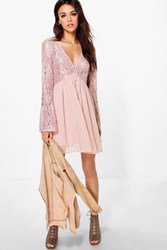 Boohoo Corded Lace Button Woven Smock Dress Blush