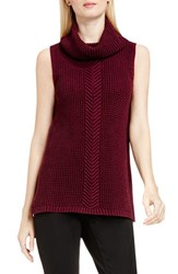 Vince Camuto Women's Two By Sleeveless Cable Stitch Cowl Neck Sweater Raisin