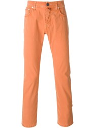 Jacob Cohen Slim Fit Trousers Yellow And Orange