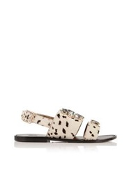 Sanchita Embellished Leopard Print Sandals Animal Print