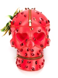 Manish Arora Incrusted Strawberry Skull Clutch Red