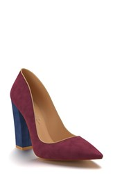 Shoes Of Prey Women's Block Heel Pump Wine Suede