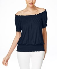 Inc International Concepts Smocked Waist Off Shoulder Peasant Blouse Only At Macy's Deep Twilight