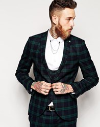 Noose And Monkey Tartan Suit Jacket With Stretch In Super Skinny Fit Green