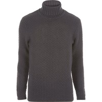 Only And Sons River Island Mens Grey Knit Roll Neck Jumper