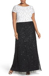 Adrianna Papell Plus Size Women's Mock Two Piece Sequin A Line Gown Ivory Black