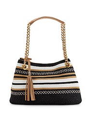 Saks Fifth Avenue Striped Straw Satchel Black