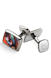 M Clip Abalone Cuff Links Stainless Steel Orange