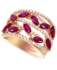 Effy Collection Effy Ruby 1 1 2 C.T. T.W. And Diamond 1 2 C.T. T.W. Ring In 14K Rose Gold