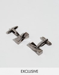 Simon Carter West End Twisted Log Cufflinks In Gunmetal Silver